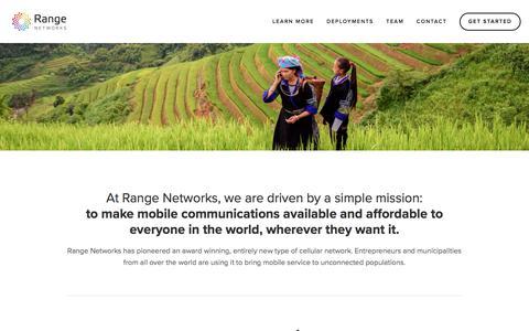 Screenshot of Home Page rangenetworks.com - Range Networks - captured June 19, 2017
