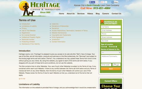 Screenshot of Terms Page heritagelawnskc.com - Terms of Use - Heritage Lawns & Irrigation - captured Oct. 3, 2014