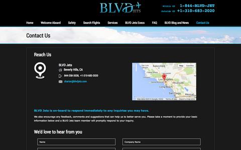 Screenshot of Contact Page blvdjets.com - Contact Us | BLVD Jets - captured Sept. 30, 2014