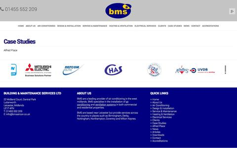 Screenshot of Case Studies Page bmsaircon.co.uk - BMS Aircon HVAC CASE Studies - captured Oct. 5, 2014