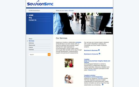 Screenshot of Services Page solutionsync.com - Services - - captured Oct. 7, 2014
