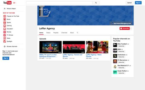 Screenshot of YouTube Page youtube.com - Leffler Agency  - YouTube - captured Oct. 26, 2014