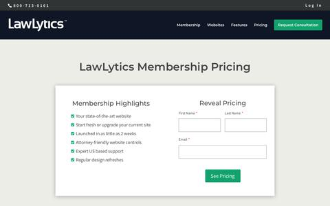 Screenshot of Pricing Page lawlytics.com - Official LawLytics Pricing - captured March 23, 2019