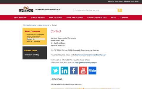 Screenshot of Contact Page maryland.gov - Contact Commerce | Maryland Department of Commerce - captured May 4, 2016