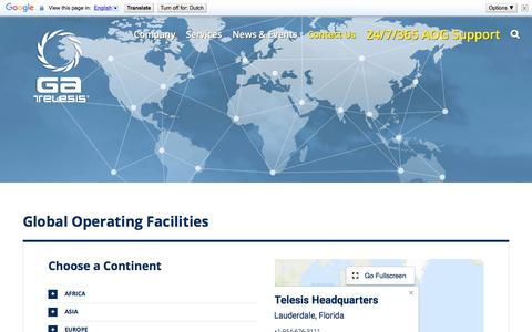 Screenshot of Locations Page gatelesis.com - Operating Facilities Worldwide - GA Telesis - MRO Services - captured July 14, 2018