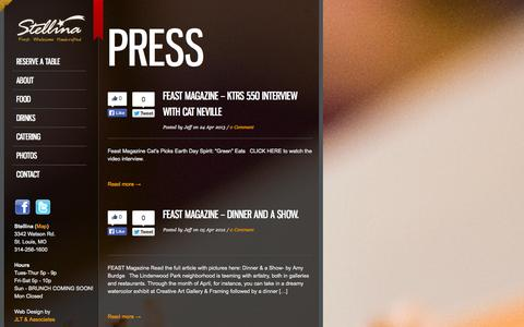 Screenshot of Press Page stellinapasta.com - Press ‹ - captured Oct. 9, 2014