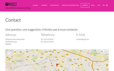 Screenshot of Contact Page keyzit.com - Contact - captured Oct. 29, 2014