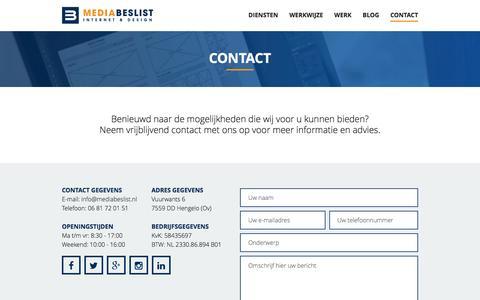 Screenshot of Contact Page mediabeslist.nl - Contact - MediaBeslist - Internetbureau in Hengelo - captured Aug. 10, 2016
