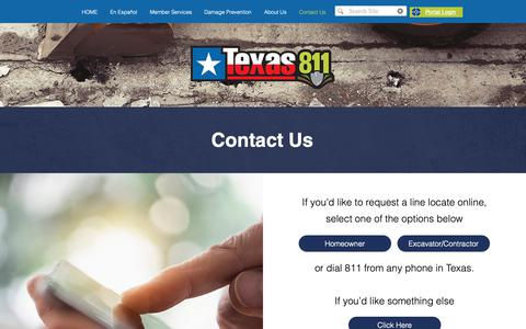 Screenshot of Contact Page texas811.org - Contact Us | Texas811 - captured Oct. 6, 2018