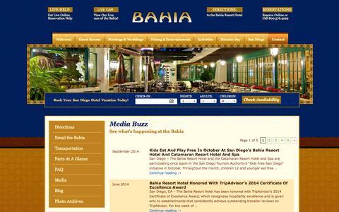 Screenshot of Press Page bahiahotel.com - Media | Bahia Resort Hotel, San Diego, CA - captured Sept. 18, 2014