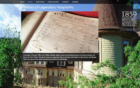 Screenshot of About Page 1859historichotels.com - About - captured Oct. 1, 2014
