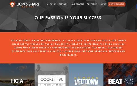 Screenshot of Case Studies Page lionssharedigital.com - Case Studies - Lion's Share Digital - captured Dec. 10, 2015