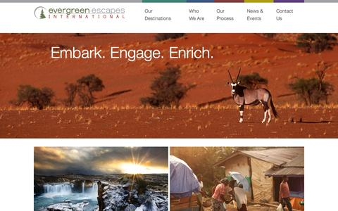 Screenshot of Home Page evergreenescapesintl.com - Escape with Evergreen Escapes International - captured Sept. 17, 2015