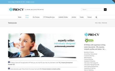 Screenshot of Testimonials Page pro-cv.co.uk - Client testimonials about CV writing services | Pro-CV Professional CV Writing Service - captured Nov. 12, 2016