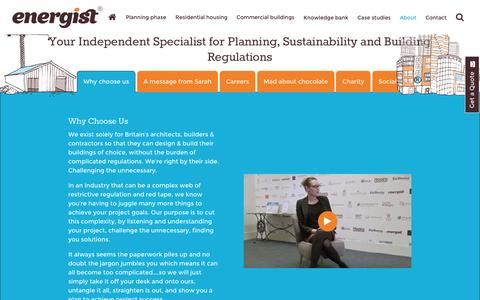 Screenshot of About Page energistuk.co.uk - Independent Specialist For Building Regulations And Sustainability - captured July 14, 2016