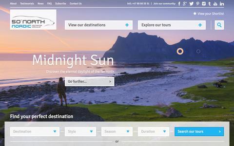 Screenshot of Home Page fiftydegreesnorth.com - 50 Degrees North - tours to Scandinavia, Nordic Region & Arctic - captured Feb. 13, 2016