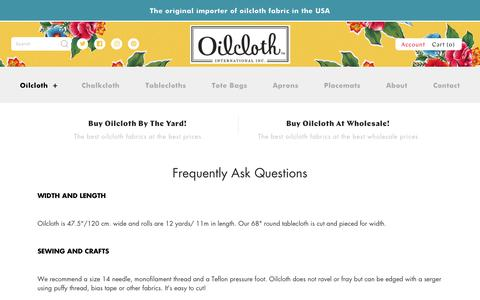 Screenshot of FAQ Page oilcloth.com - Frequently Ask Questions – Oilcloth International, Inc. - captured Oct. 19, 2018