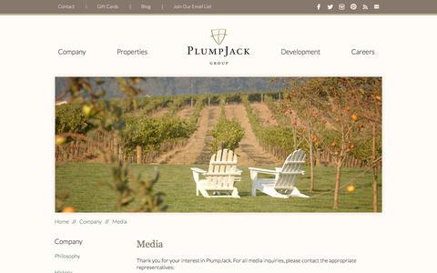 Screenshot of Press Page plumpjack.com - Restaurant Managent Company | PlumpJack Group - Media Inquiries - captured Oct. 26, 2014