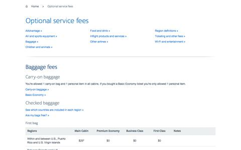 Optional service fees − Support − American Airlines