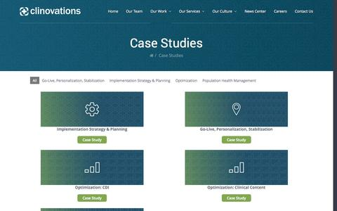 Screenshot of Case Studies Page clinovations.com - Case Studies - captured Sept. 30, 2014