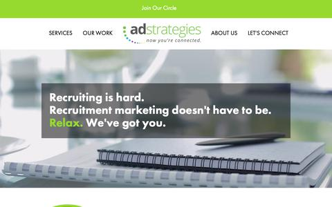 Screenshot of Home Page adsrecruit.com - Recruitment Marketing Services | Ad Strategies - captured Oct. 3, 2018