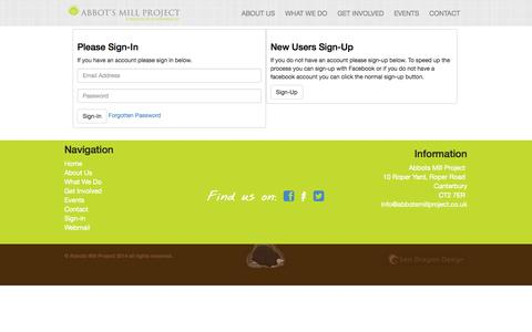 Screenshot of Login Page abbotsmillproject.co.uk - Abbots Mill Project | Please Sign In - captured Nov. 3, 2014
