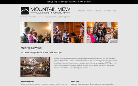 Screenshot of Services Page mvcchurch.org - Mountain View Community Church | Services - captured Nov. 30, 2016