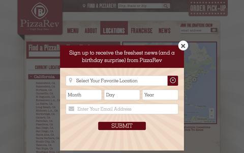 Screenshot of Locations Page pizzarev.com - Locations - PizzaRev Restaurants - captured Dec. 9, 2015