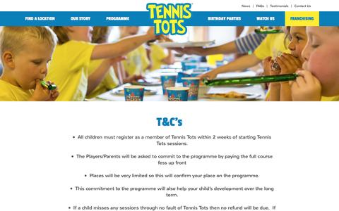 Screenshot of Terms Page tennis-tots.co.uk - Terms & Conditions | Tennis Tots - captured Aug. 13, 2016
