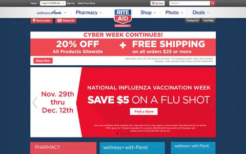 Screenshot of Home Page riteaid.com - Rite Aid Pharmacy - With Us, It's Personal - captured Dec. 4, 2015