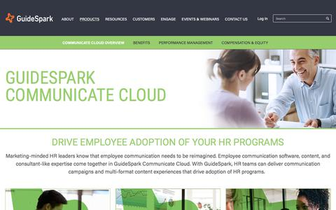 Screenshot of Products Page guidespark.com - GuideSpark Communicate Cloud modernizes employee communications | GuideSpark - captured Oct. 8, 2017