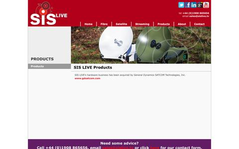Screenshot of Products Page sislive.tv - Satellite Uplink Vehicles and Portable VSAT Terminals - SIS LIVE - captured May 26, 2017