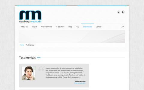 Screenshot of Testimonials Page newburghnetworks.com - Testimonials | Newburgh Networks - captured Oct. 26, 2014