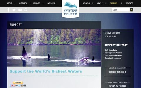 Screenshot of Support Page pwssc.org - Support | Prince William Sound Science Center - captured Oct. 3, 2014