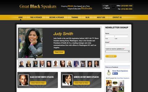 Screenshot of Home Page greatblackspeakers.com - Black Speakers | African American Speakers | Diversity Speakers - captured Sept. 19, 2014