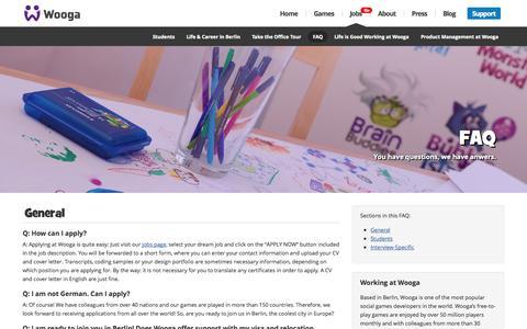 Screenshot of FAQ Page wooga.com - FAQ |  Wooga - captured Sept. 17, 2014