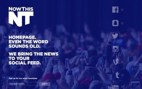 Screenshot of Home Page nowthisnews.com - NowThis - captured Sept. 20, 2016