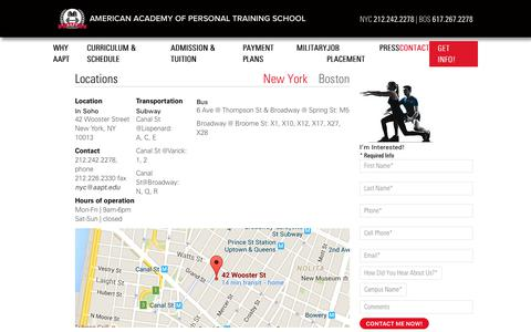 Screenshot of Contact Page Locations Page aapt.edu - AAPT In New York | American Academy of Personal Training School - captured July 8, 2018