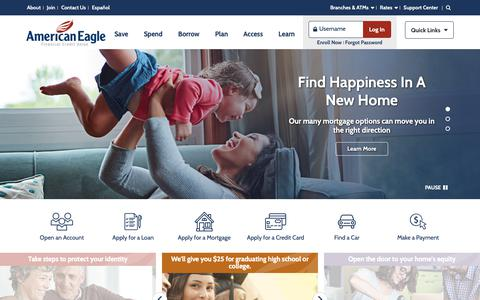 Screenshot of Home Page americaneagle.org - American Eagle Financial Credit Union | CT Credit Union | Banking - captured Oct. 3, 2018