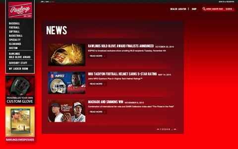 Screenshot of Press Page rawlings.com - Rawlings - News - captured Oct. 31, 2014