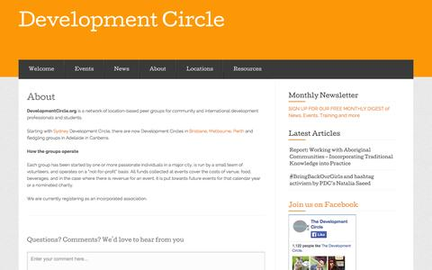 Screenshot of About Page developmentcircle.org - About « Development Circle - captured Sept. 30, 2014