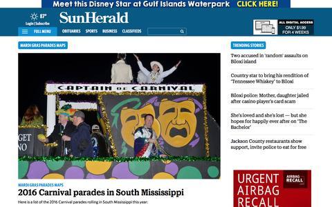 Screenshot of Maps & Directions Page sunherald.com - Biloxi MS Parade & Mardi Gras Parades Maps | SunHerald.com & SunHerald - captured July 9, 2016