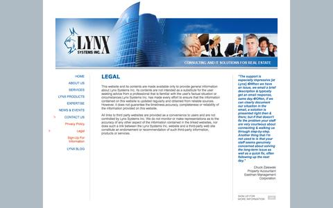 Screenshot of Terms Page lynxsystemsinc.com - Lynx Systems Inc.   Contact - captured Oct. 3, 2014