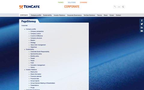 Screenshot of Site Map Page tencate.com - PageSitemap | Royal Ten Cate Corporate EMEA - captured Oct. 26, 2014