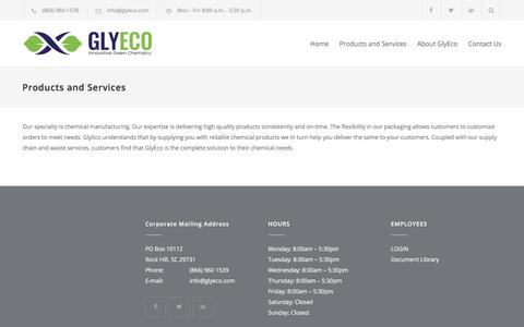 Screenshot of Products Page glyeco.com - Products and Services – Glyeco - captured July 21, 2018
