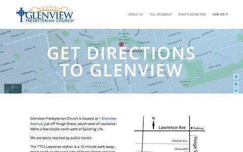 Screenshot of Maps & Directions Page glenviewchurch.ca - Get directions to Glenview — Glenview Presbyterian Church - captured Nov. 7, 2016