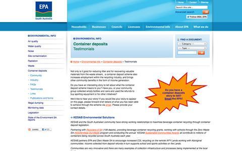Screenshot of Testimonials Page epa.sa.gov.au - EPA South Australia :: Testimonials - captured Oct. 3, 2014