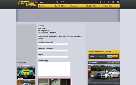 Screenshot of Contact Page leftlanenews.com - Leftlane - Contact - captured Jan. 13, 2016