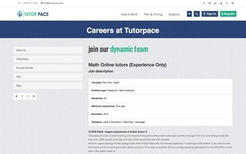 Screenshot of Jobs Page tutorpace.com - Online Tutoring Jobs - Online Teaching Jobs - Online Tutors   Tutorpace - captured Oct. 25, 2014
