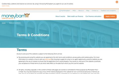Screenshot of Terms Page moneybarn.com - Terms & Conditions - Moneybarn - captured June 12, 2017